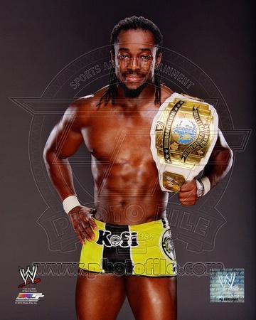 Kofi Kingston with the Intercontinental Championship Belt 2012 Posed Photo