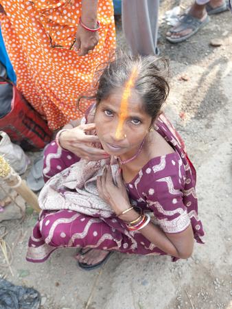Rural Bihari Woman with Orange Vaishnavite Teeka on Forehead, Sonepur, Bihar, India Photographic Print by Annie Owen