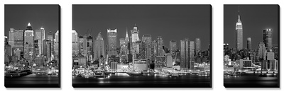 West Side, horizonte por la noche en blanco y negro, Nueva York, EE UU Conjunto de lienzos