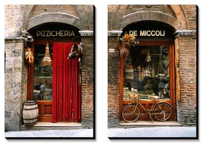Rower postawiony przed sklepem z dawną żywnością - Siena, Toskania, Włochy Obrazy panelowe na płótnie