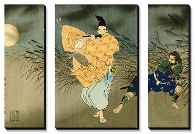 A Triptych of Fujiwara No Yasumasa Playing the Flute by Moonlight Obrazy panelowe na płótnie