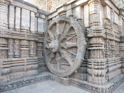 Carved Chariot Wheel on Wall of Konarak Sun Temple, UNESCO World Heritage Site, Konarak, India Photographic Print by Annie Owen