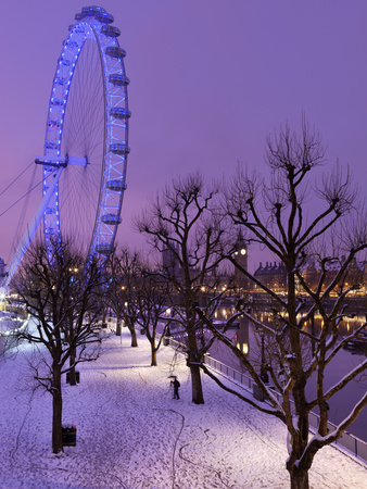 Houses of Parliament and London Eye in Winter, London, England, United Kingdom, Europe Photographic Print by Stuart Black