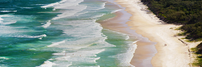 Panoramic Photo of Surfers Heading Out to Surf on Tallow Beach at Cape Byron Bay, Australia Photographic Print by Matthew Williams-Ellis
