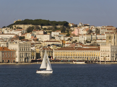 View from River Tagus, Showing Praca Comercio, Castle and Cathedral, Lisbon, Portugal Photographic Print by Rolf Richardson