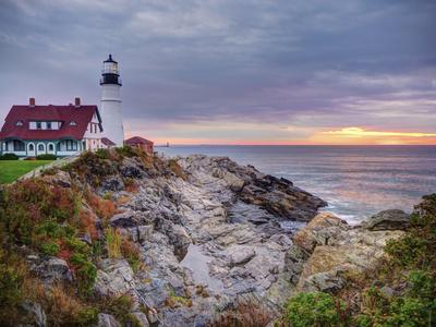Portland Head Lighthouse at Sunrise, Portland, Maine, New England, USA, North America Photographic Print by Alan Copson