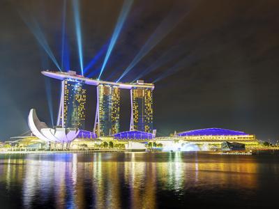 Marina Bay Sands at Night, Marina Bay, Singapore, Southeast Asia, Asia Photographic Print by Gavin Hellier