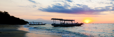 Mount Agung on Bali and Fishing Boats Silhouetted Against Sunset, Gili Trawangan, Indonesia Photographic Print by Matthew Williams-Ellis