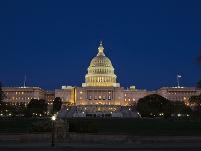 US Capitol Complex, Capitol and Senate Building Showing Current Renovation Work, Washington DC, USA Photographic Print by Mark Chivers