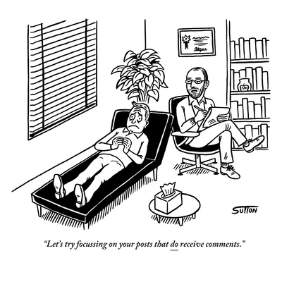 """""""Let's try focussing on your posts that do receive comments."""" - New Yorker Cartoon Giclee Print by Ward Sutton"""