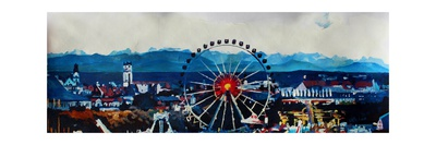 Munich Oktoberfest Panorama with Alps and Giant Wheel Print by Markus Bleichner