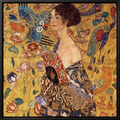 Dame met een waaier Ingelijste canvasdruk van Gustav Klimt