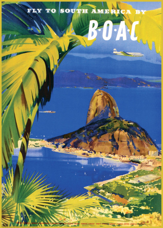 Fly to South America by BOAC Plakat af Frank Wootton