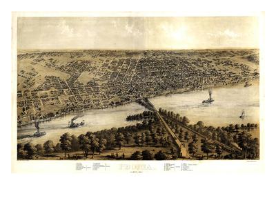 1867, Peoria Bird's Eye View, Illinois, United States Giclee Print