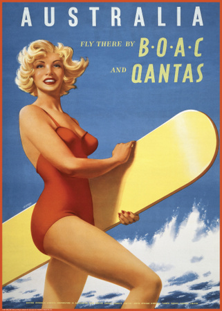 Fly to Australia by BOAC and Qantas Posters