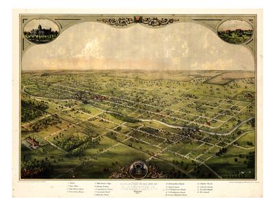 1866, Lansing Bird's Eye View, Michigan, United States Giclee Print
