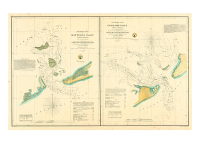 1857, Hatteras and Ocracoke Inlet Chart North Carolina, North Carolina, United States Giclee Print