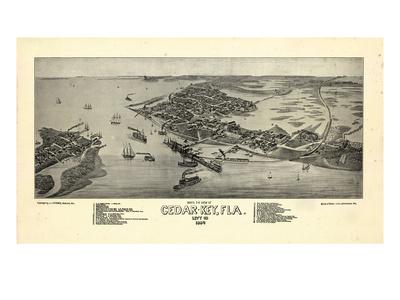 1884, Cedar Key Bird's Eye View, Florida, United States Giclee Print