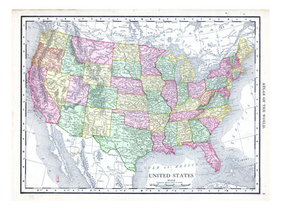 1913, United States, North America, United States Map Giclee Print