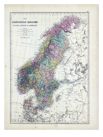 1873, Scandinavian Kingdoms, Norway, Sweden, Denmark Giclee Print