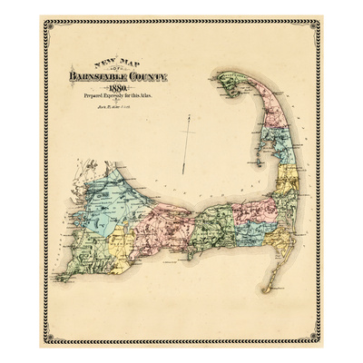 Old map of Cape Cod - Counties