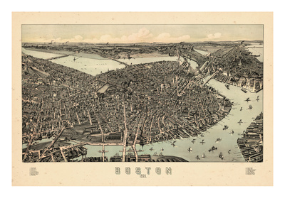 1899, Boston Bird's Eye View, Massachusetts, United States Giclee Print