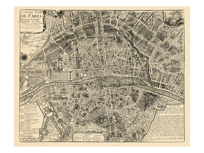 Paris, France, Vintage Map Gicléetryck
