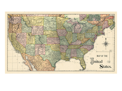 1889, United States Map Giclee Print