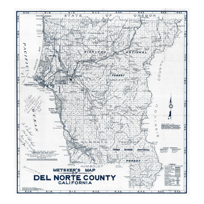 1949, Del Norte County Wall Map, California, United States Giclee Print