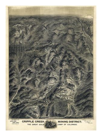 1895, Cripple Creek Mining District 1895c Bird's Eye View, Colorado, United States Giclee Print