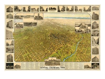 1908, Denver Bird's Eye View, Colorado, United States Giclee Print