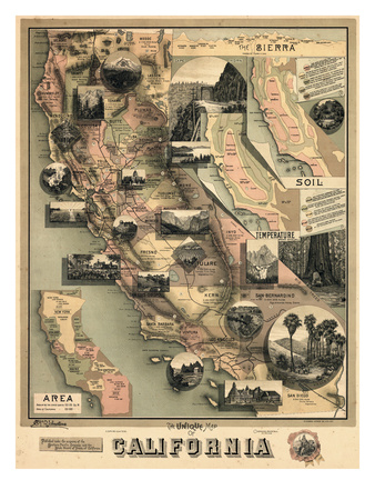 1888, California State Map, California, United States Giclee Print