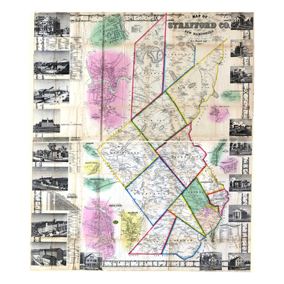 1856, Strafford County Wall Map, New Hampshire, United States Giclee Print