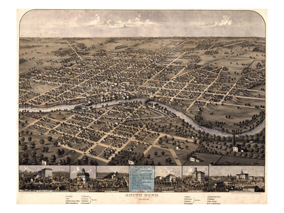 1866, South Bend Bird's Eye View, Indiana, United States Giclee Print