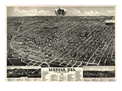 1889, Lincoln 1889 Bird's Eye View, Nebraska, United States Giclee Print