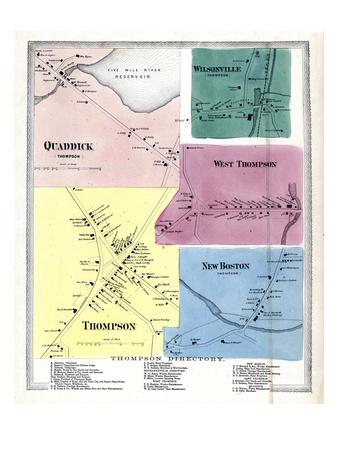 1869, Quaddick, Wilsonville, Thompson West, West Thompson, Thompson Town, New Boston, Connecticut Giclee Print
