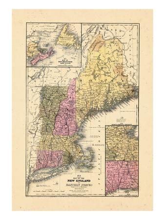 1844, New England, Connecticut, Maine, Massachusetts, New Hampshire, Rhode Island, Vermont Giclee Print