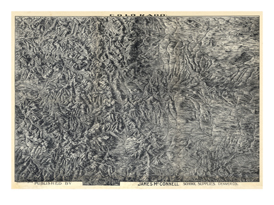 1894, Colorado State Map in Relief, Colorado, United States Giclee Print