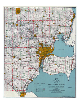 1925, Southeastern Michigan Road Map, Michigan, United States Giclee Print