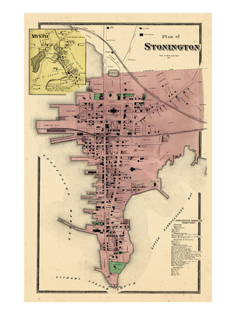 1868, Stonington Plan, Mystic, Connecticut, United States Giclee Print