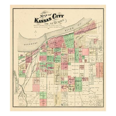 1877, Kansas City and Suburbs, Missouri, United States Giclee Print