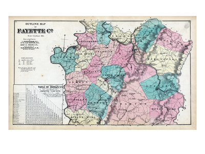 1872, Fayette County Outline Map, Pennsylvania, United States Giclee Print