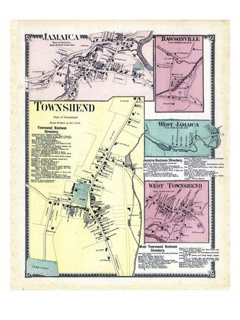1869, Jamaica, Rawsonville, Townshend Town, Jamaica West, Townshend West, Vermont, United States Giclee Print