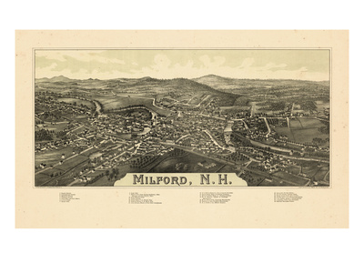 1886, Milford Bird's Eye View, New Hampshire, United States Giclee Print
