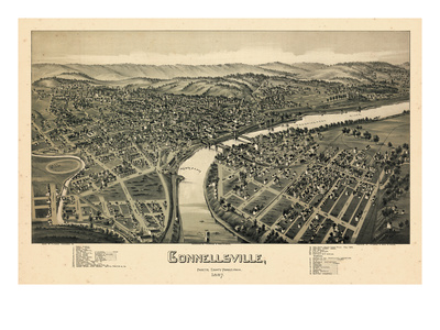 1897, Connellsville Bird's Eye View, Pennsylvania, United States Giclee Print