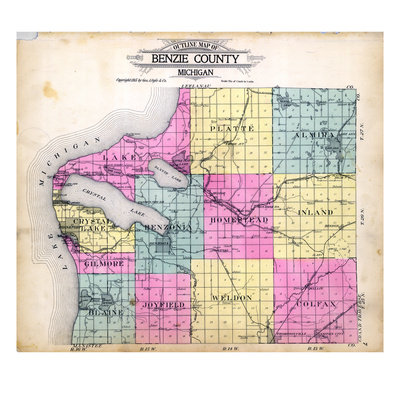 1915, Benzie County Outline Map, Michigan, United States Giclee Print