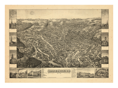1881, Little Falls Bird's Eye View, New York, United States Giclee Print!