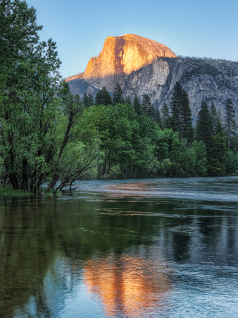 Half Dome Reflected in Merced River, Yosemite Valley, Yosemite National Park, California, USA Fotoprint