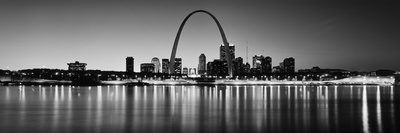 City Lit Up at Night, Gateway Arch, Mississippi River, St. Louis, Missouri, USA Photographic Print by  Panoramic Images