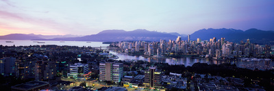 Aerial View of Cityscape at Sunset, Vancouver, British Columbia, Canada Photographic Print by  Panoramic Images